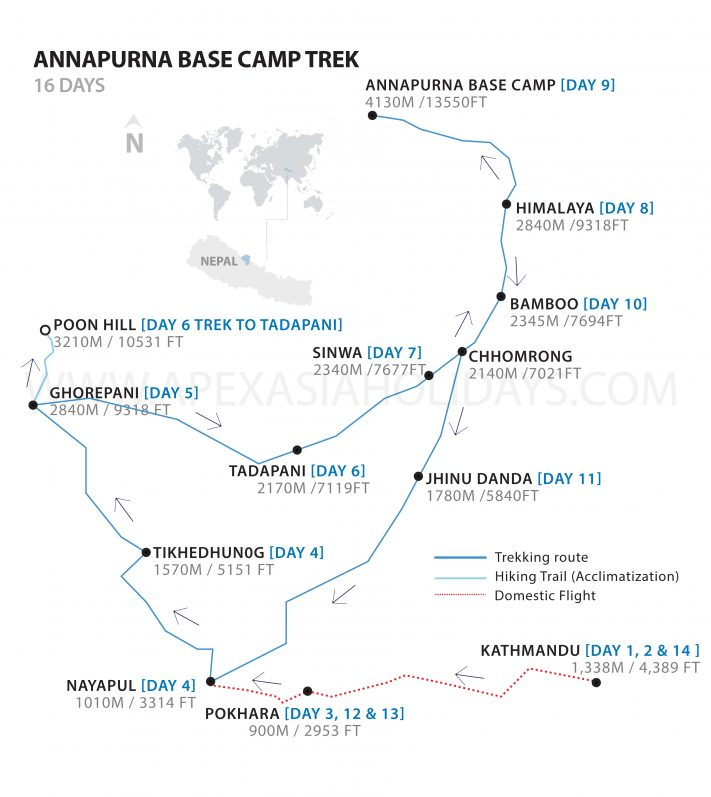 Annapurna Base Camp Trek Detailed Map by Apex Asia Holidays