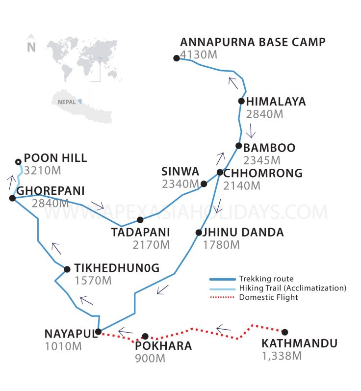 Annapurna Base Camp Trek Map by Apex Asia Holidays