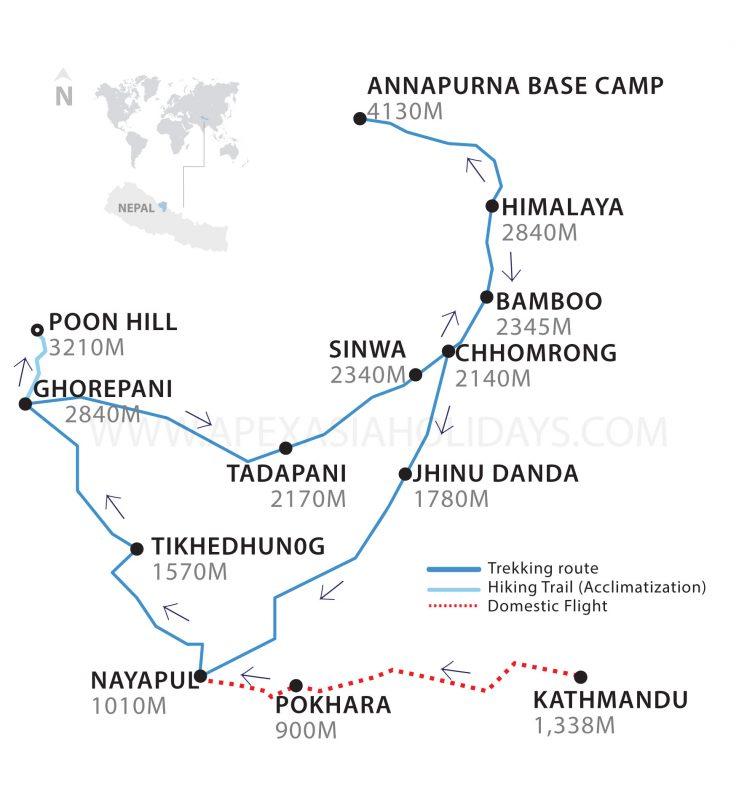 Annapurna Base Camp Trek Thumbnail Map