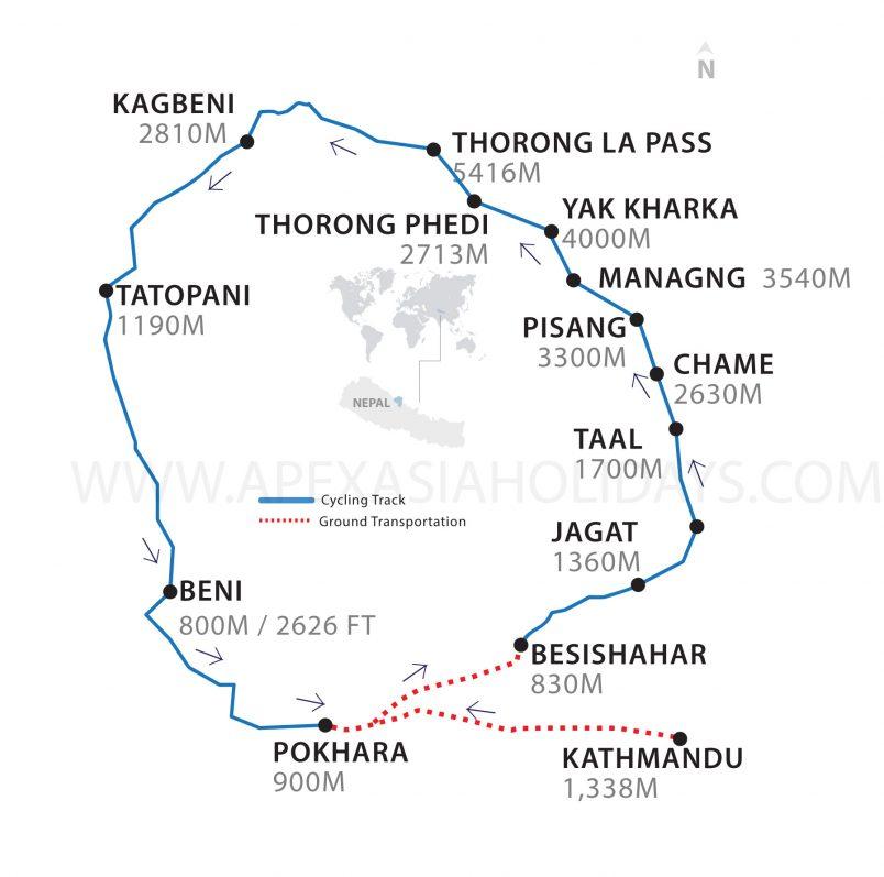 Annapurna Circuit mountain biking Thumbnail Map by Apex Asia Holidays