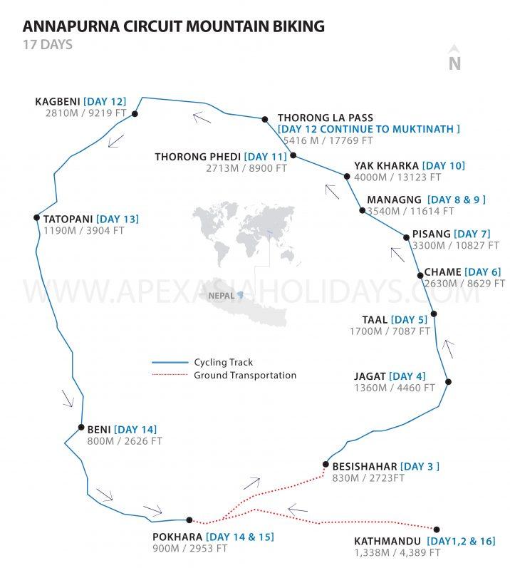 Annapurna Circuit Mountain Biking trail map by Apex Asia Holidays