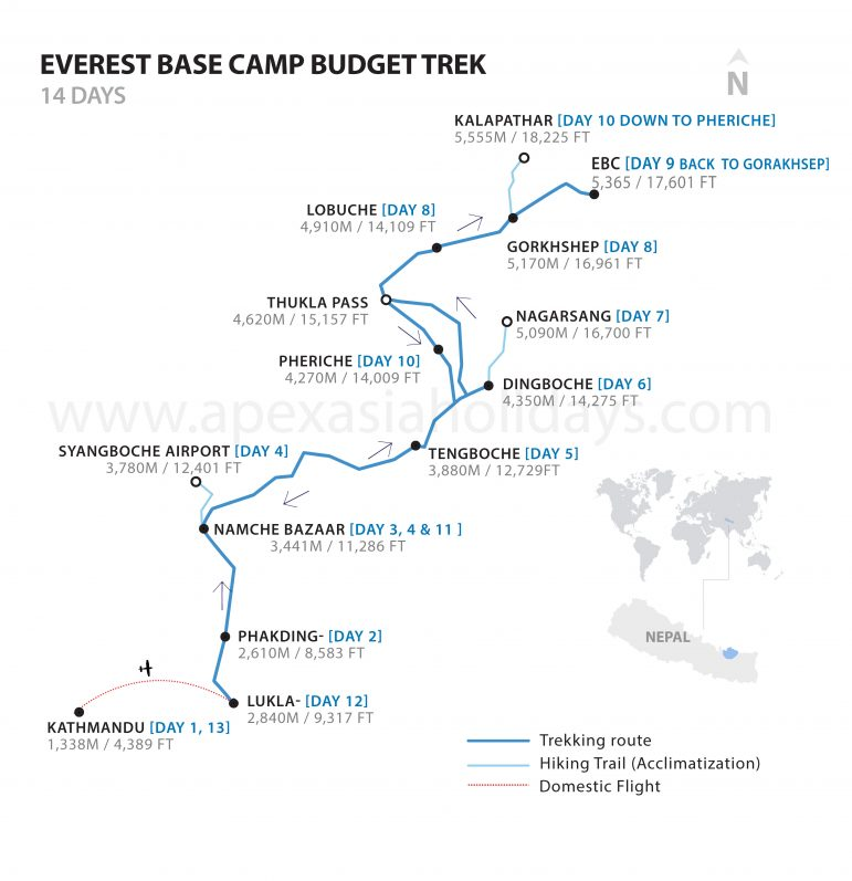 The detailed map of Everest Base Camp Budget Trek by Apex Asia Holidays