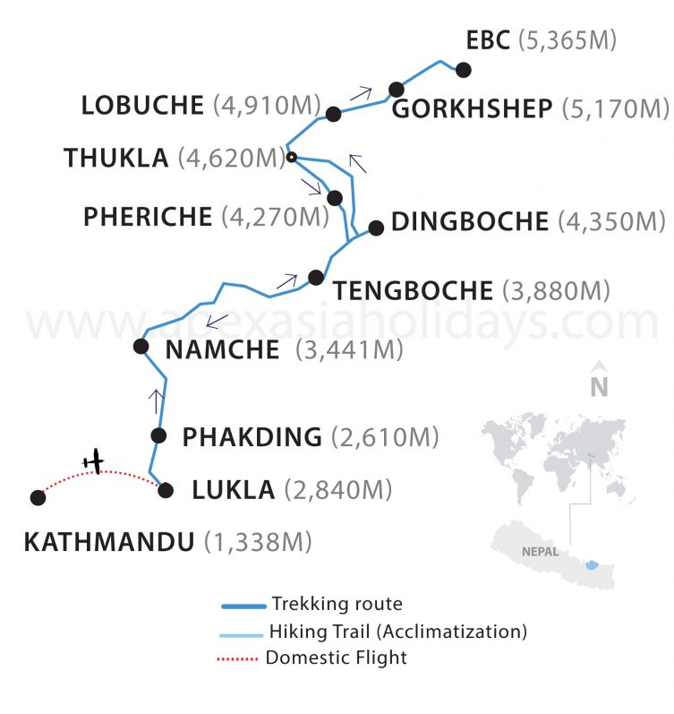 The thumbnail map of Everest Base Camp budget trek by Apex Asia Holidays