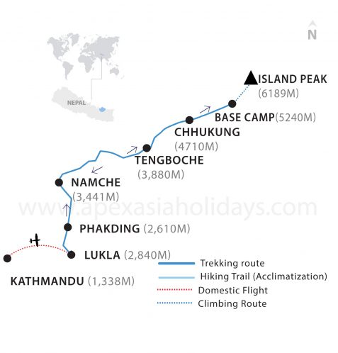 Island Peak Thumbnail Map by Apex Asia Holidays