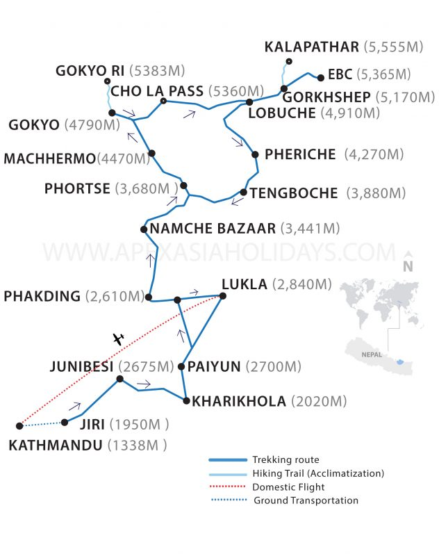 A map of Jiri To Everest Base Camp by Apex Asia Holidays