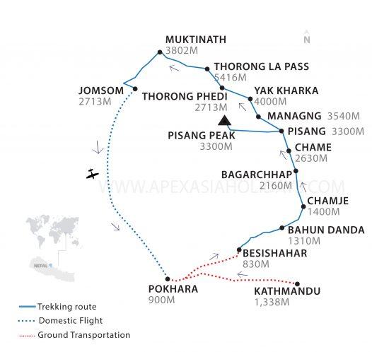 Pisang Peak Thorong La Thumbnail Map by Apex Asia Holidays