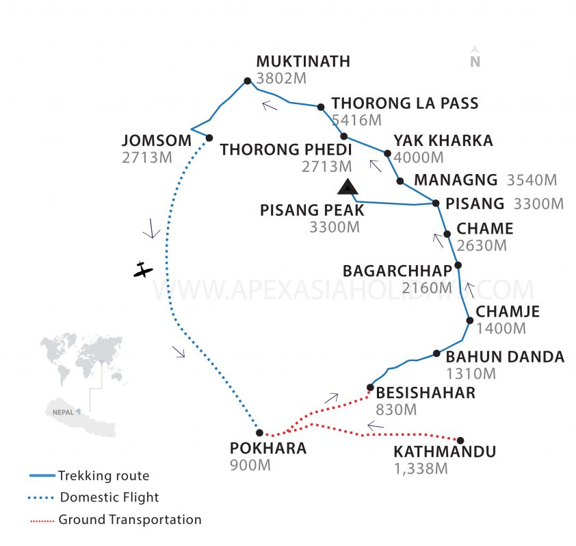 Pisang Peak Thorong La Thumbnail Map by Apex Asia Holidays