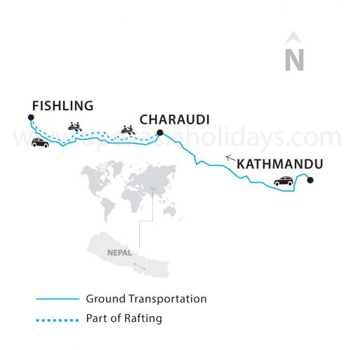 Trishuli river White Water Rafting Map by Apex Asia Holidays