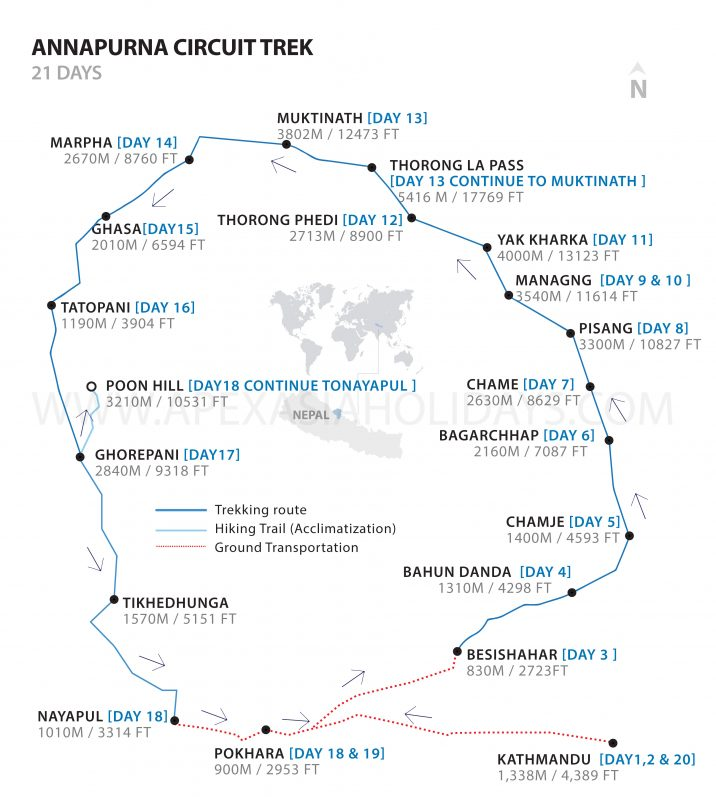 A detailed map of Annapurna Circuit Trek by Apex Asia Holidays