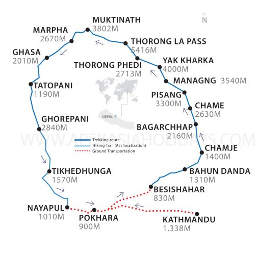 Annapurna Circuit Trek Thumbnail Map by Apex Asia Holidays