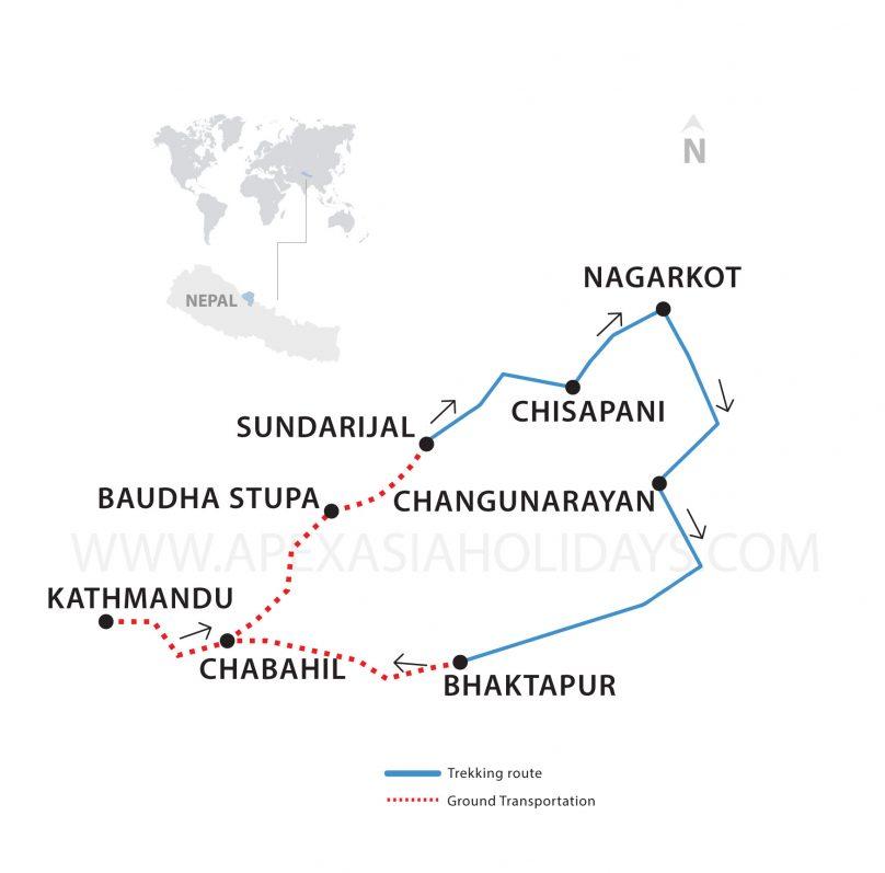 Thumbnail Map of Chisapani Nagarkot Trek by Apex Asia Holidays