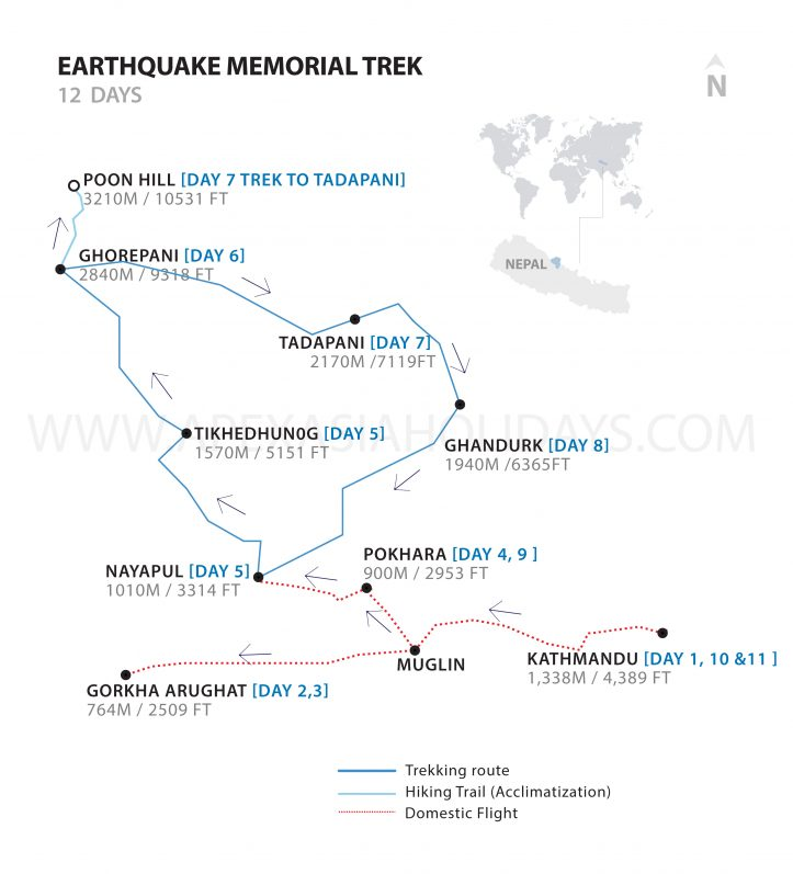 A detailed map of Earthquake Memorial Trek by Apex Asia Holidays