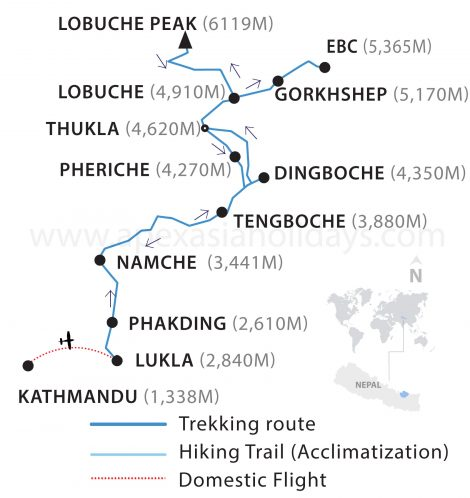 Everest Base Camp Trek Lobuche East Thumbnail map by Apex Asia Holidays