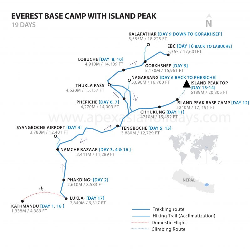 Everest Base Camp with Island Peak Detailed Map by Apex Asia Holidays