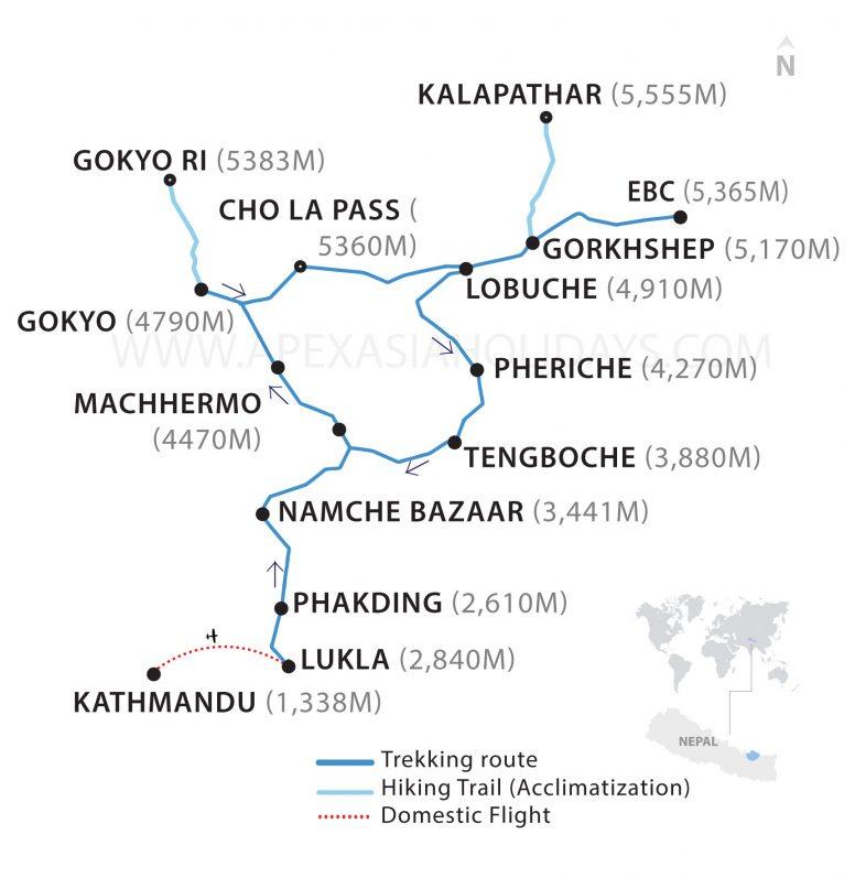 Gokyo Valley to Everest Base Camp Trek Thumbnail Map