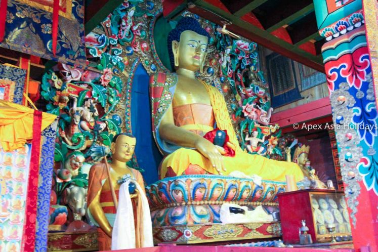 Inside the Tengboche Monastery of Everest Base Camp route with Apex Asia Holidays