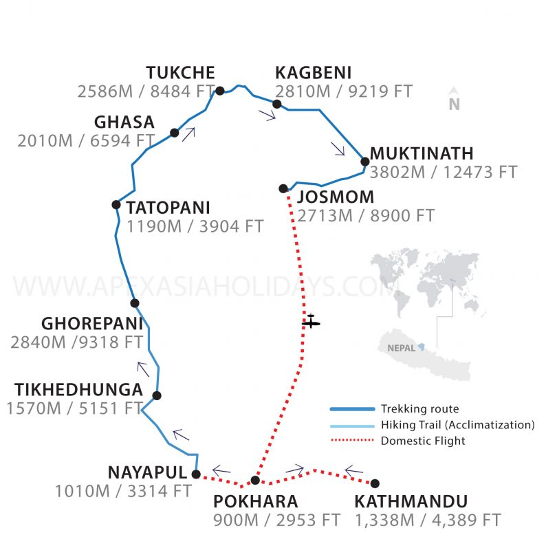 Jomsom Muktinath Trek Map by Apex Asia Holidays