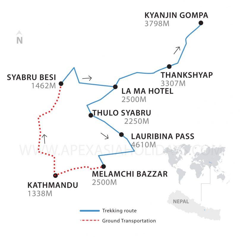 Thumbnail map of Langtnag Valley and Ganja La Trek by Apex Asia Holidays