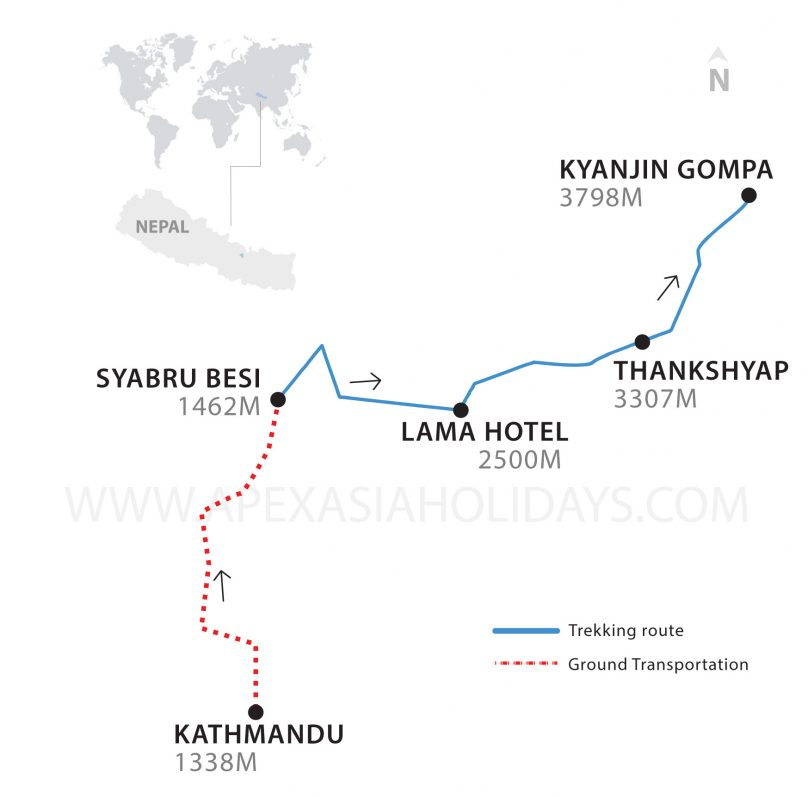 Langtang Valley Trekking Thumbnail map by Apex Asia Holidays