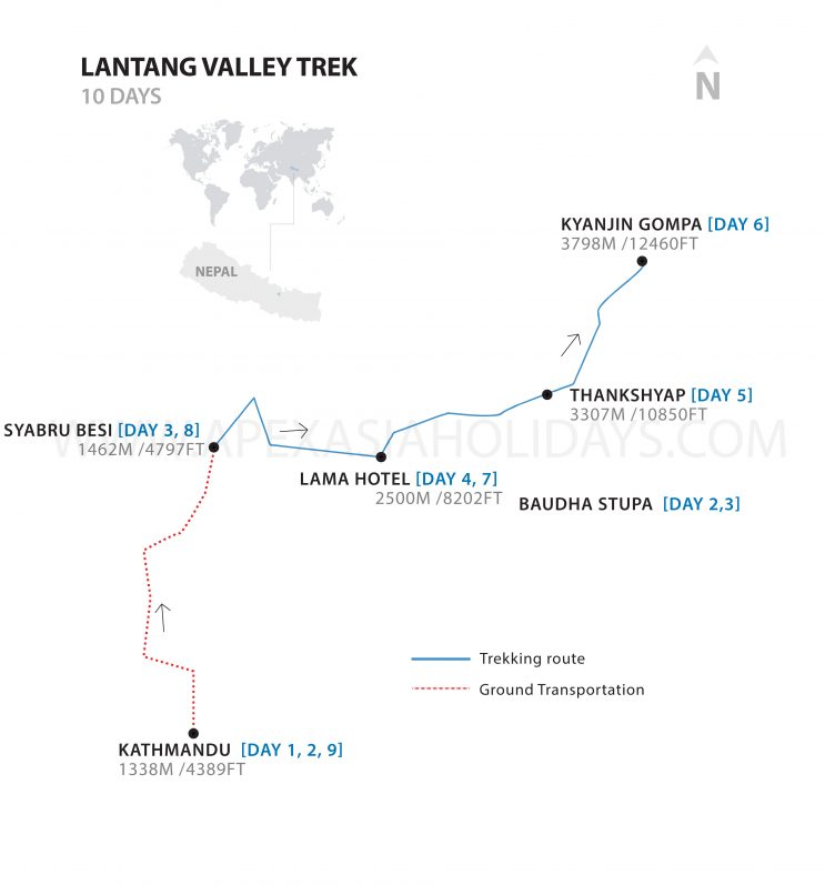 Detailed map of Langtang Valley Trek by Apex Asia Holidays