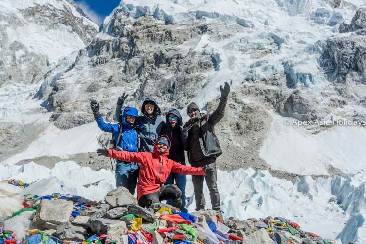 Our Valuable trekkers taking photos at Everest Base Camp with Apex Asia Holidays