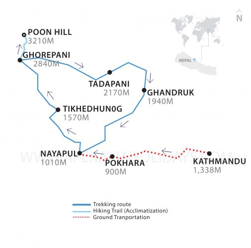 A thumbnail map of Poon Hill Ghorepani Trek by Apex Asia Holidays