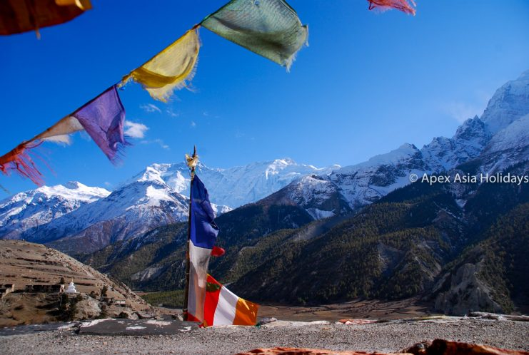 Praying flag at Gherung in the Annapurna Round and Tilicho Lake trekking region