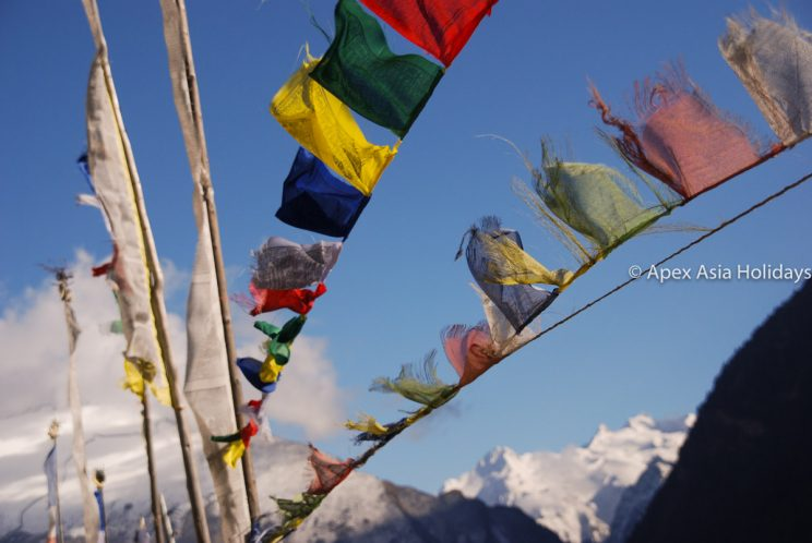 Praying flags are in Annapurna Circuit Trek and Tilicho Lake Trekking Region