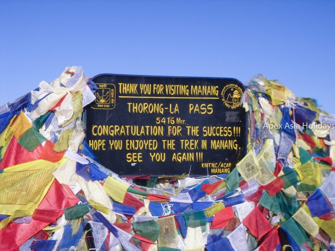 At the top of Thorong La Pass at Annapurna Circuit trek and Tilicho Trek at Annapurna Region