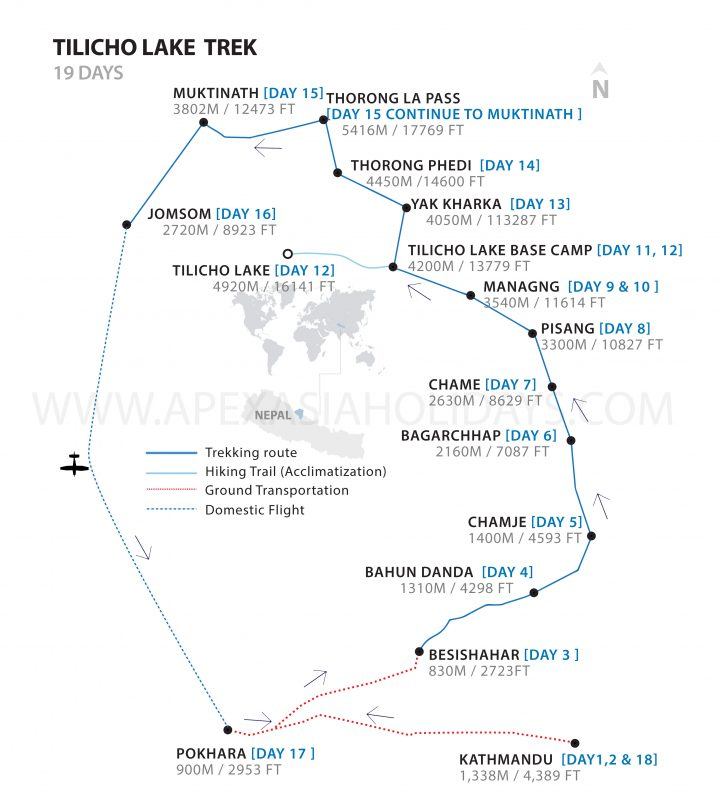 Tilicho Lake Trek Detailed Map