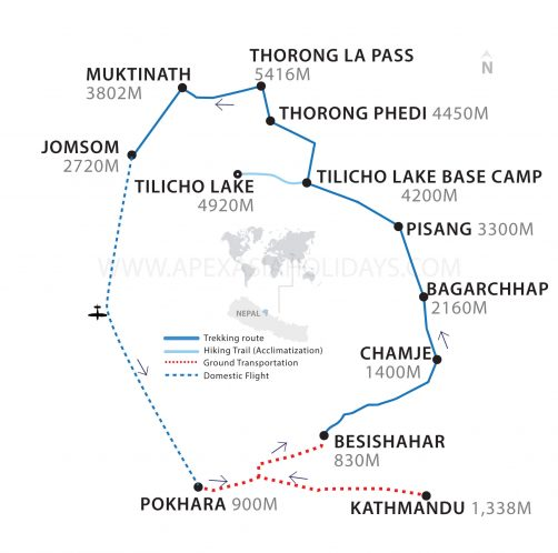 Tilicho Lake Trek Thumbnail Map by Apex Asia Holidys