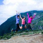 Trekkers are jumping at Namche Bazzar in Everest Trekking Region