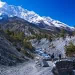 Trekkers are crossing the bridge along the Annapurna Circuit Trekking- Annapurna Trekking Region