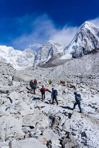 Trekkers are heading toward Everest Base Camp and Gokyo Ri