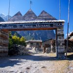 Welcome gate to Pisang Manang at Annapurna Circuit Trek