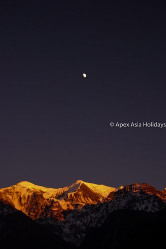 Stunning Night view of Moutain with Moon in Annapurna Trekking Region