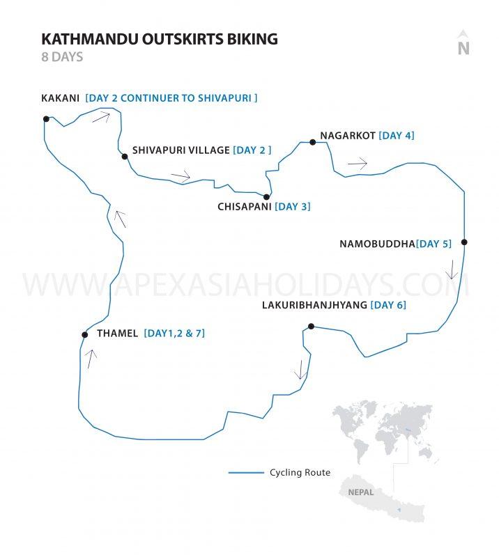 Kathmandu Outskirts Detailed Map by Apex Asia Holidays