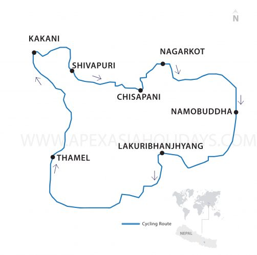 Kathmandu Outskirts Thumbnail map by Apex Asia Holidays