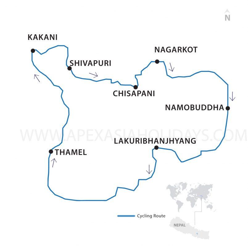 Kathmandu Outskirts Thumbnail map by Apex Asia Holidays