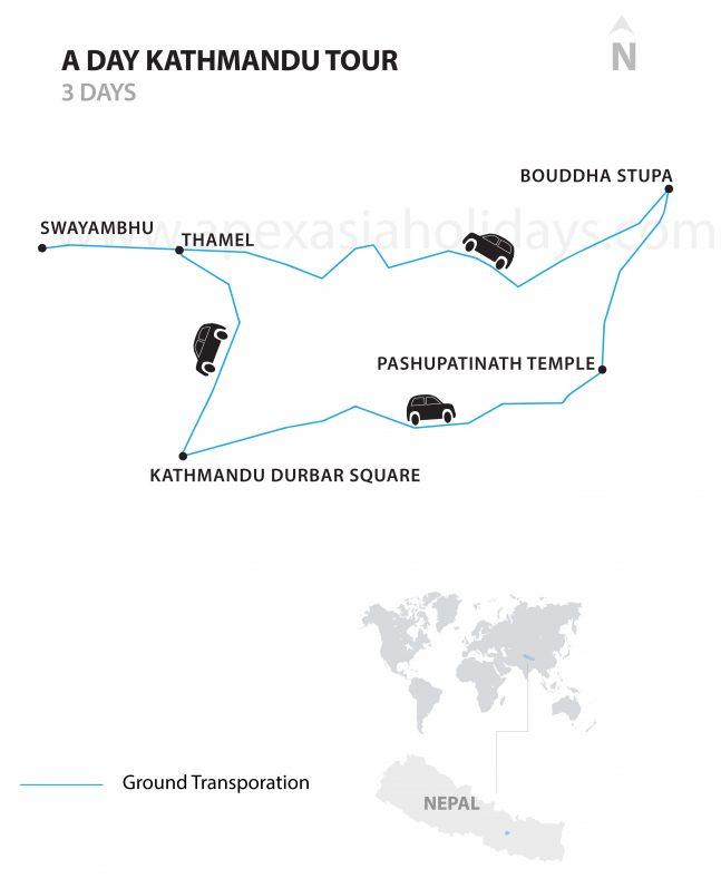 A-Day-Kathmandu-Day-Tour-Detailed-Map