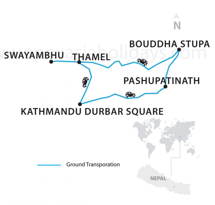A Day Kathmandu Day Tour Thumbnail map by Apex Asia Holidays