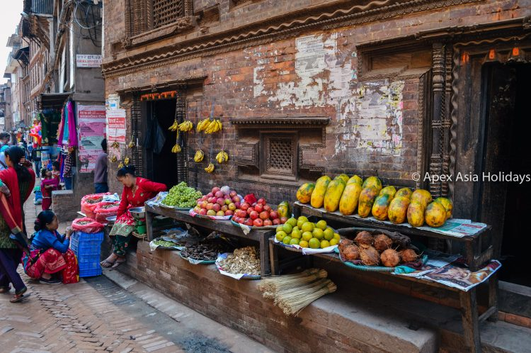 A street fruits sale around the Kathmandu City Tour