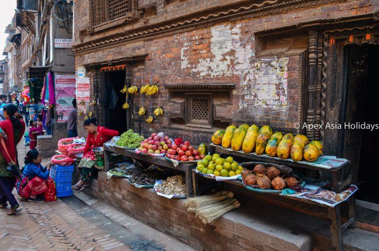 A street fruits sale around the Kathmandu City Tour
