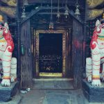 Akash Bhairab Temple in Kathmandu and lion statue in the gates
