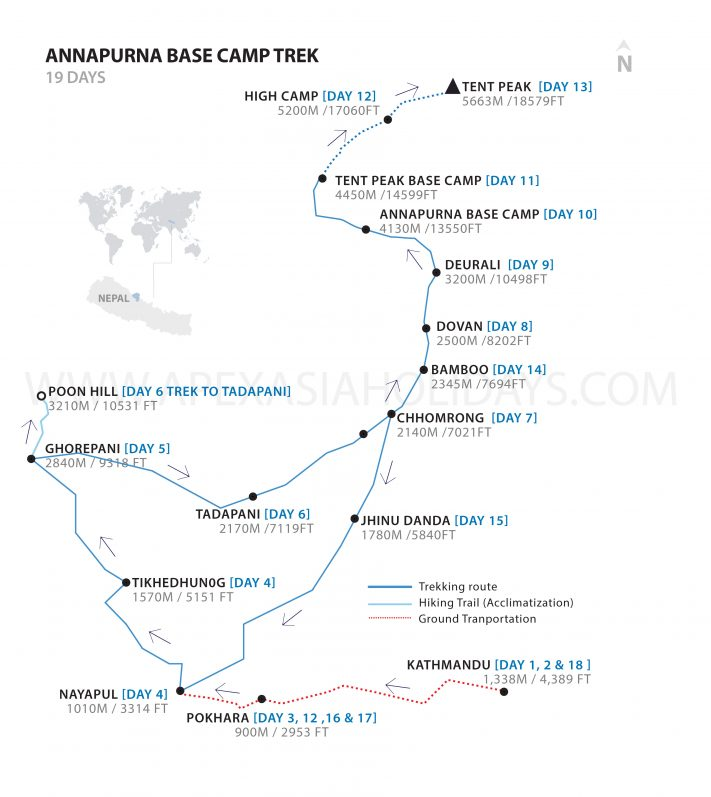 Annapurana Tent Peak Detailed Map by Apex Asia Holidays