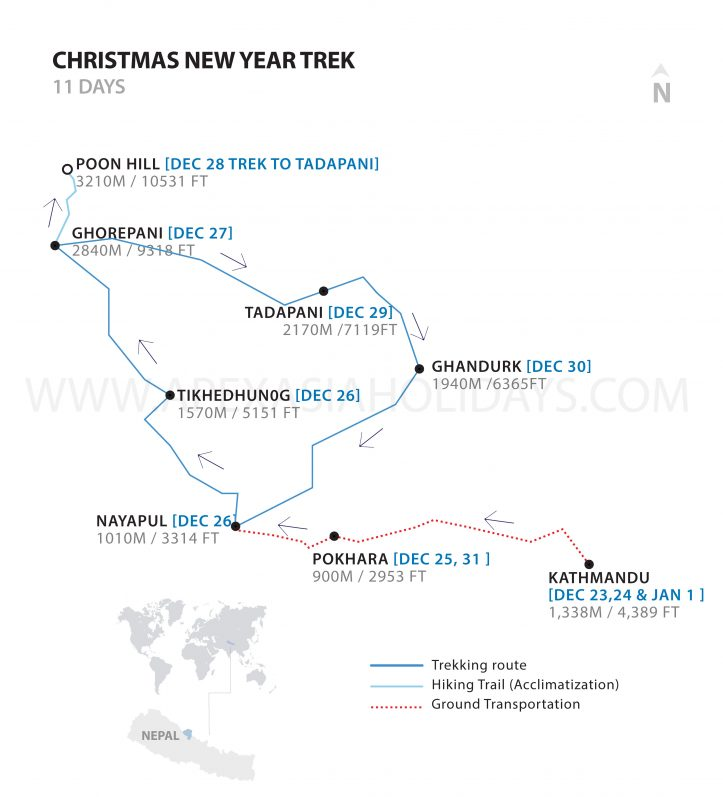 A detailed map of Christmas and New Year trek by Apex Asia Holidays