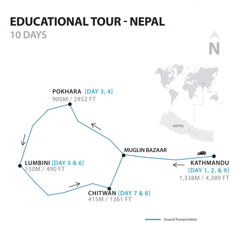 A detailed map of Educational Tour in Nepal