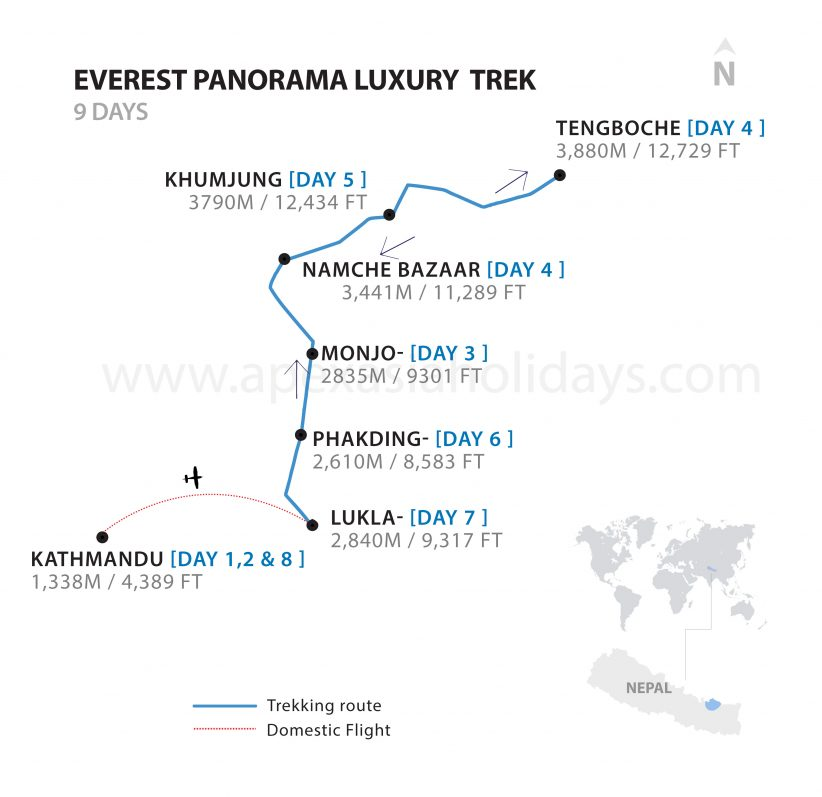 The detailed map of Everest Panorama Trek by Apex Asia Holidays