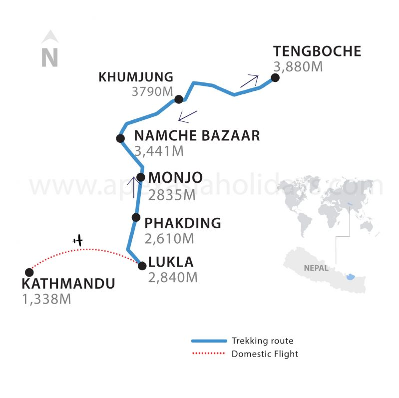 The thumbanail map of Everest Panorama Trek by Apex Asia Holidays