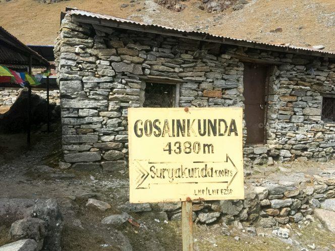Gosaikunda Signboard en route of Lantang Valley Gosaikunda Trek